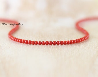 Italian Red Coral Necklace. Genuine Untreated Mediterranean Coral Choker. Long Beaded Layering Necklace. Sterling Silver, Rose, Gold Filled