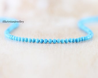 Turquoise Tiny Beaded Necklace in Sterling Silver, Gold or Rose Gold Filled, Dainty Blue Gemstone Choker, Long Delicate Layering Necklace