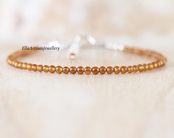 Hessonite Garnet Dainty Bracelet. Sterling Silver, Rose, Gold Filled. Slim Skinny Stacking Bracelet. Delicate AAA Gemstone Jewelry for Women