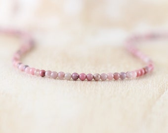 Rhodonite Delicate Beaded Necklace. Sterling Silver, Gold or Rose Gold Filled. Dainty Tiny Gemstone Choker. Long Layering Necklace for Women