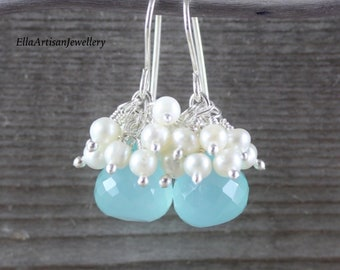 Aqua Chalcedony, Freshwater Pearl & Sterling Silver Cluster Earrings. Beaded Gemstone Drop Earrings. Small Dangle Earrings for Women, Brides