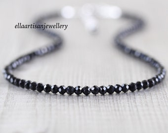 Black Spinel Beaded Necklace, Sterling Silver, Gold or Rose Gold Filled, Dainty Semi Precious Gemstone Choker, Long Goth Necklace for Women