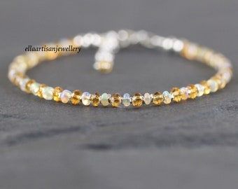 Ethiopian Welo Opal & Citrine Bracelet in Sterling Silver, Gold or Rose Gold Filled. Dainty Delicate Gemstone Stacking Bracelet for Women