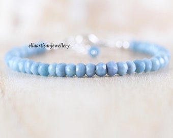 Peruvian Blue Opal Dainty Bracelet in Sterling Silver, Gold or Rose Gold Filled. Beaded Gemstone Stacking Bracelet. Boho Jewelry for Women