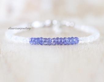 Tanzanite & Rainbow Moonstone Bracelet in Sterling Silver, Gold or Rose Gold Filled, Dainty Blue Gemstone Beaded Stacking Bracelet for Women