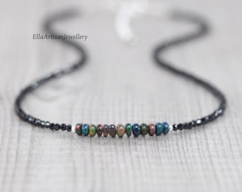 Ethiopian Welo Opal & Black Spinel Necklace. Sterling Silver, Rose, Gold Filled. Dainty Gemstone Choker. Delicate Layering Jewelry for Women