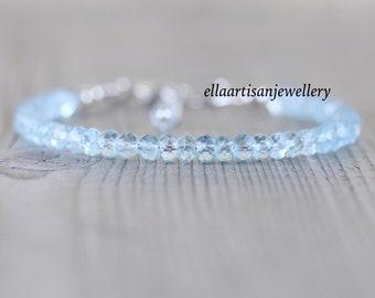 Sky Blue Topaz Dainty Bracelet in Sterling Silver, Gold or Rose Gold Filled. Delicate Gemstone Stacking Bracelet. Beaded Jewelry for Women