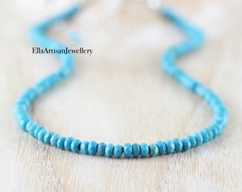Turquoise Beaded Necklace in Sterling Silver, Gold or Rose Gold Filled. Custom Long Length or Choker. Dainty Gemstone Boho Jewelry for Women