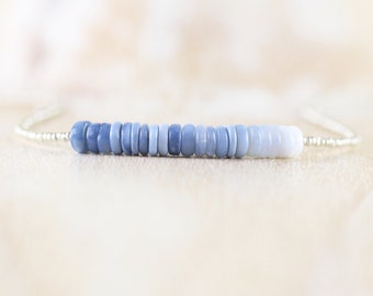 Peruvian Blue Opal, Seed Bead & Sterling Silver Necklace. Ombre Gemstone Heishi Bead Choker. Long Layering Necklace. Boho Jewelry for Women