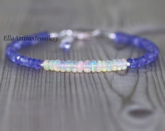 Tanzanite & Ethiopian Welo Opal Dainty Bracelet in Sterling Silver, Gold or Rose Gold Filled. AAA Flashy Gemstone Beaded Stacking Bracelet