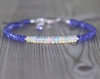 Tanzanite & Ethiopian Welo Opal Dainty Bracelet in Sterling Silver, Gold or Rose Gold Filled, AAA Flashy Gemstone Beaded Stacking Bracelet