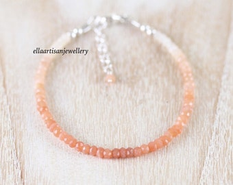 Peach Moonstone Dainty Bracelet in Sterling Silver, Gold or Rose Gold Filled. Ombre Gemstone Stacking Bracelet. Delicate Jewelry for Women