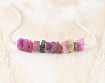 Raw Watermelon Tourmaline, Seed Bead & Sterling Silver Necklace. Rough Gemstone Choker. Long Layering Necklace for Women. Uncut Nugget Beads