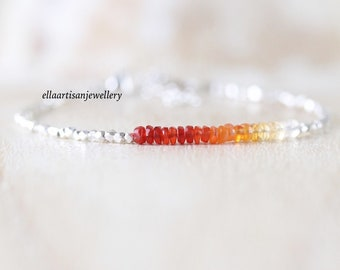 Mexican Fire Opal, Sterling & Fine Silver Bracelet, Ombre Red and Orange Gemstone with Dainty Karen Hill Tribe Thai Silver Beads