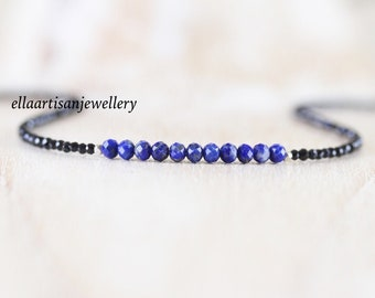 Lapis Lazuli & Black Spinel Beaded Necklace. Sterling Silver, Rose, Gold Filled. Dainty Gemstone Choker. Long Layering Necklace for Women