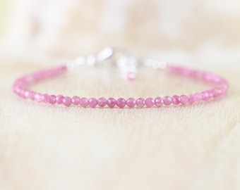 Pink Tourmaline Delicate Beaded Bracelet in Sterling Silver, Gold or Rose Gold Filled. Dainty Gemstone Stacking Bracelet. Jewelry for Women