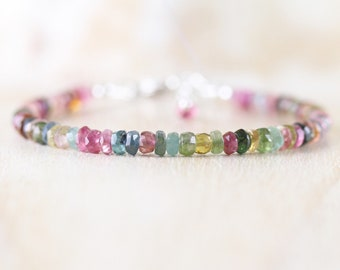 Multi Color Tourmaline Dainty Bracelet. Sterling Silver, Gold or Rose Gold Filled. Watermelon Tourmaline Beaded Stacking Bracelet for Women