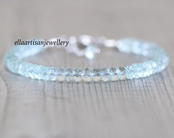 Aquamarine Beaded Bracelet in Sterling Silver, Gold or Rose Gold Filled, Chunky 5mm Gemstone Stacking Bracelet, Layering Jewelry for Women