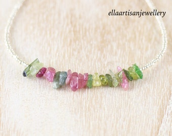 Raw Watermelon Tourmaline, Seed Bead & Sterling Silver Necklace. Dainty Multi Color Gemstone Choker. Boho, Hippie Layering Jewelry for Women