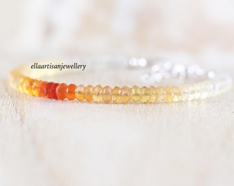 Mexican Fire Opal Beaded Bracelet in Sterling Silver, Gold or Rose Gold Filled. Ombre Gemstone Jewelry. Dainty Stacking Bracelet for Women