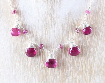 Rubellite Pink Tourmaline & Sterling Silver Necklace. Delicate Wire Wrapped Bib Necklace. Dainty Beaded Gemstone Layering Jewelry for Women