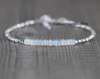 Ethiopian Welo Opal, Sterling & Fine Silver Bracelet, Dainty Beaded Gemstone Stacking Bracelet, Delicate Jewelry for Women, Karen Hill Tribe