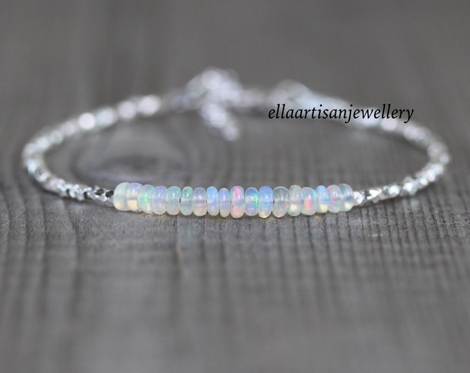 Featured listing image: Ethiopian Welo Opal, Sterling & Fine Silver Bracelet. Dainty Gemstone Beaded Stacking Bracelet. Delicate Jewelry for Women. Karen Hill Tribe
