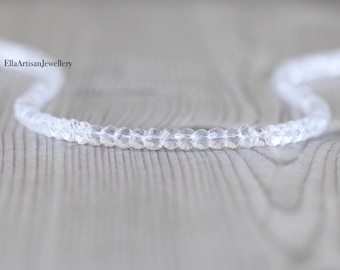 Rock Crystal, Clear Quartz Beaded Necklace in Sterling Silver, Gold or Rose Gold Filled, Custom Length, Choker or Long Necklace, 4mm Beads