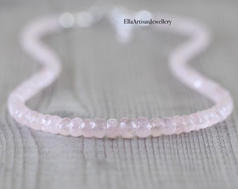 Morganite Beaded Necklace in Sterling Silver, Gold or Rose Gold Filled, AAA Dainty Pink Gemstone Choker, Long Layering Necklace for Women