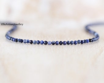 Dumortierite Delicate Beaded Necklace. Sterling Silver, Rose, Gold Filled. Dainty Blue AAA Gemstone Choker. Long Layering Necklace for Women
