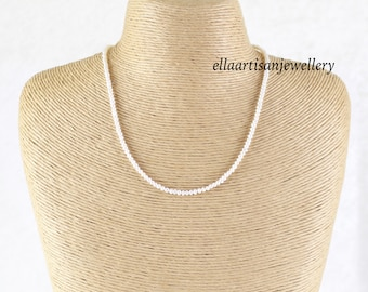 Freshwater Seed Pearl Necklace in Sterling Silver, Gold or Rose Gold Filled, Dainty Beaded Choker or Long Delicate Layering Necklace