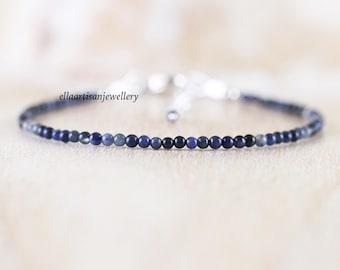 Dumortierite Beaded Bracelet. Sterling Silver, Rose, Gold Filled. Dainty Blue Gemstone Jewelry for Women. Slim Skinny Stacking Bracelet