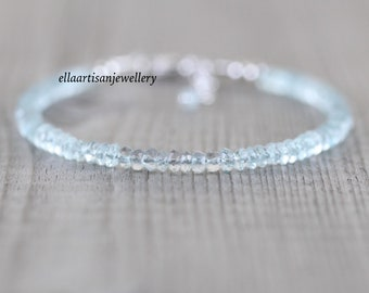Aquamarine Dainty Bracelet in Sterling Silver, Gold or Rose Gold Filled. Delicate Beaded Gemstone Stacking Bracelet. Fine Jewelry for Women