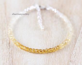 Natural Citrine Dainty Beaded Bracelet in Sterling Silver, Gold or Rose Gold Filled. Delicate Ombre Gemstone Stacking Bracelet for Women