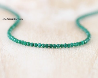 Emerald Delicate Beaded Necklace in Sterling Silver, Gold or Rose Gold Filled. Dainty Tiny Gemstone Choker. Long Layering Necklace for Women