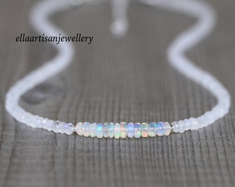 Ethiopian Welo Opal & Rainbow Moonstone Necklace in Sterling Silver, Gold or Rose Gold Filled. Custom Made, Long or Short Choker Length