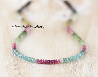 Watermelon Tourmaline Beaded Necklace in Sterling Silver, Gold or Rose Gold Filled. Multi Color Gemstone Choker. Delicate Layering Jewelry