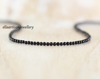 Black Onyx Delicate Beaded Necklace in Sterling Silver, Gold or Rose Gold Filled. Dainty Gemstone Choker. Long Layering Necklace for Women