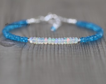 Blue Apatite & Ethiopian Welo Opal Beaded Bracelet in Sterling Silver, Gold or Rose Gold Filled. Dainty Gemstone Stacking Bracelet for Women