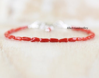 Mediterranean Red Coral Bracelet in Sterling Silver, Gold or Rose Gold Filled, Genuine & Natural Italian Coral Irregular Tube Bead Jewelry
