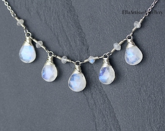 Rainbow Moonstone Wire Wrapped Bib Necklace in Sterling Silver, Gold or Rose Gold Filled, AAA Blue Flash Gemstone Jewelry for Women