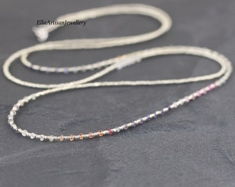 Multi Color Sapphire, Topaz, Seed Bead & Sterling Silver Necklace. Long Delicate Layering Necklace. Dainty Gemstone Wrap Bracelet for Women