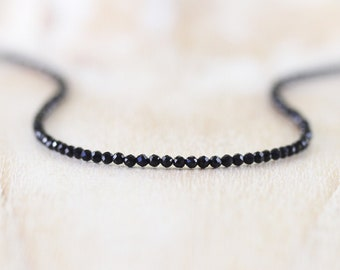 Black Obsidian Delicate Beaded Necklace. Sterling Silver, Gold or Rose Gold Filled. Dainty Gemstone Choker. Long Layering Necklace for Women