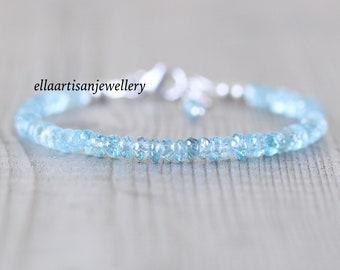 Natural Blue Zircon Dainty Bracelet in Sterling Silver, Gold or Rose Gold Filled. Delicate Beaded Gemstone Stacking Bracelet for Women