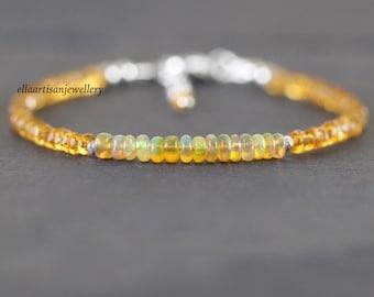 Ethiopian Welo Opal & Citrine Bracelet. Sterling Silver, Gold or Rose Gold Filled. Dainty Orange Gemstone Beaded Stacking Bracelet for Women
