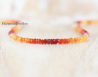 Mexican Fire Opal Delicate Beaded Necklace in Sterling Silver, 14Kt Gold or Rose Gold Filled. Dainty Gemstone Choker. Boho Jewelry for Women