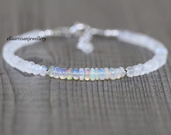 Ethiopian Welo Opal & Rainbow Moonstone Bracelet in Sterling Silver, Gold or Rose Gold Filled. Blue Flash Gemstone Dainty Stacking Bracelet
