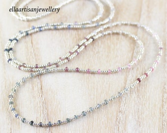 Multi Color Sapphire, Miyuki Seed Bead & Sterling Silver Necklace. Dainty Ombre Gemstone Jewelry. Long Delicate Layering Necklace for Women