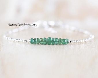 Zambian Emerald, Sterling & Fine Silver Bracelet. Dainty Tiny Beaded Jewelry for Women. Slim Delicate Stacking Bracelet. Karen Hill Tribe