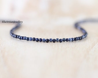 Dumortierite Delicate Beaded Necklace. Sterling Silver, Rose, Gold Filled. Dainty Tiny AAA Gemstone Choker. Long Layering Necklace for Women